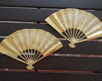 Brass Wall Fan Asian Style with Oriental Design