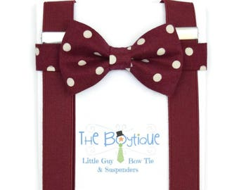 Burgundy Bow Tie and Suspenders, Wine Polka Dot Bow Tie, Burgundy Suspenders, Adult, Mens,  Toddler Suspenders, Baby, Kids, Ring Bearer Gift