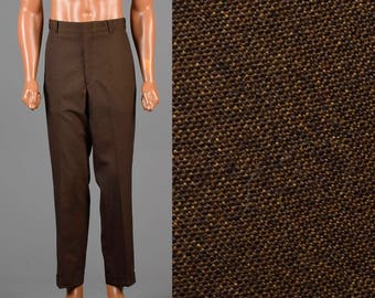 34x29 Mens Highwaist Pants 1960s Mens Pants Vintage Brown Pants 60s MOD Mens Pants Flat Front Pants 1960s Vintage Pants Medium Mens Pants