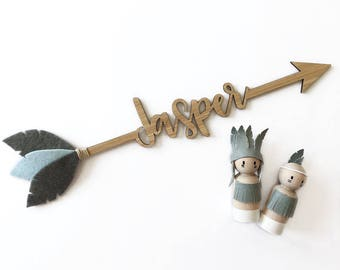 Custom Wooden Arrow Name | Laser cut Nursery & Kids Decor