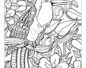 Bird Coloring Page, Animal coloring sheet, Downloadable print, Adult coloring