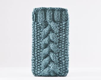 Knitted iPhone 8 Plus Case, Turquoise iPhone X Case, Girlfriend Gift, Handknit iPhone Case, iPhone Sleeve, Turquoise iPhone 7 Plus Case