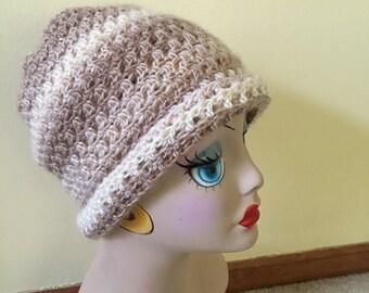 Crochet Hat, Cream Hat, Beige Hat, Acrylic Cap, Ladies Hat, Teens, Beanie, Outdoor Activities, Ski, See Matching Cowl