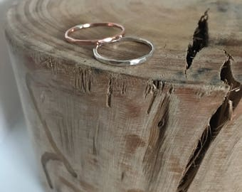 Hammered silver ring. Tiny dents hammered silver or copper ring. Hand dented. 1.5 mm skinny band.