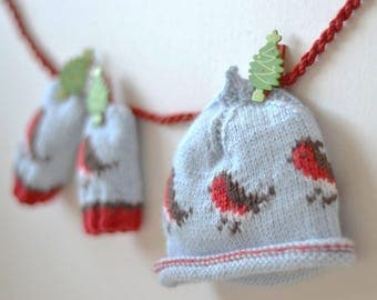 CHRISTMAS PATTERN OFFER! - Beanie and baby mittens knitting pattern Little Robins