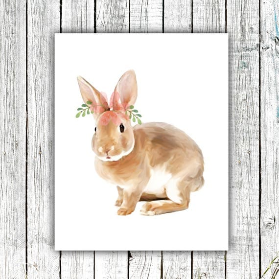 Nursery Printable, Bunny, Rabbit Wall Art, Floral Watercolor, Animals, Wreath, Digital Download Multiple Sizes #653