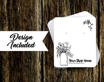Jewelry Display Cards | Earring Cards | Necklace Cards | Mason Jar Floral
