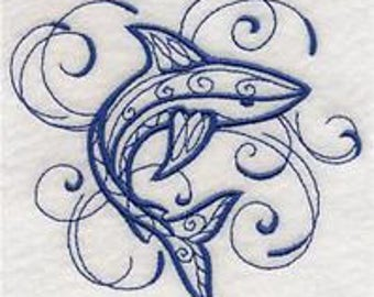 embroidered Hand towel - intricate ink shark - many colors available