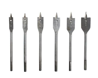 6pc Power Drill Spade Bit Assorted Sizes Universal DIY Wood Working Tool Set