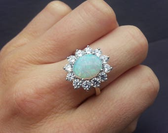 1.50ct Diamond & Opal Engagement Ring