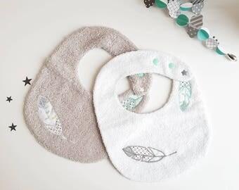 Bavoirs bébé réglables en éponge, lot de bavoirs bébé, cadeaux naissance, plumes brodées, éponge, naissance, bébé, gris, blanc, vert, étoile