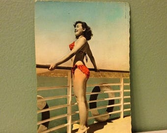 ON SALE Pin-Up Swimsuit Vintage 1950 Postcard French European Postcard Old 1950's
