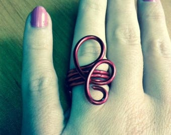 RED ALUMINUM WIRE RING HANDMADE TO ORDER