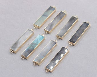 40mm Labradorite Bar Connectors -- With Electroplated Gold Edge Gemstone Charms Wholesale Supplies YHA-330
