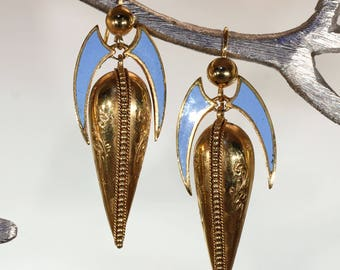 Antique Pinchbeck Blue Enamel Earrings
