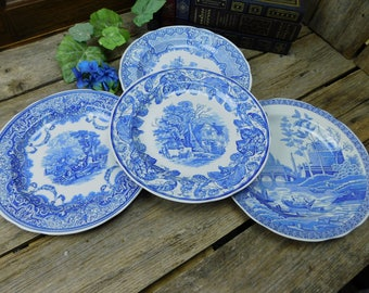 set of 4 vintage blue and white spode dinner plates the spode blue room collection