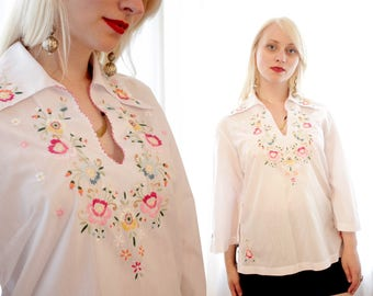 Vintage white cotton ethnic folk blouse floral embroidery BoHo swimsuit cover up Mexican style