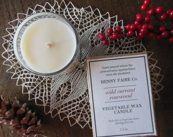 wild currant rosewood scented candle | red currant holly holiday candle | natural soy coconut wax & artisan fragrance