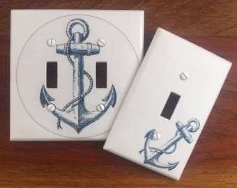 Nautical anchor light switch cover // white blue // SAME DAY SHIP !