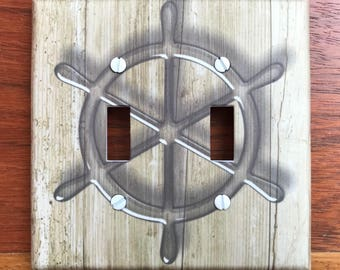 Nautical rustic wood light switch plate // ship wheel boat brown wood plank decor // Nautical nursery // SAME DAY SHIPPING !! **