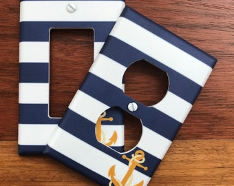 Nautical anchor pattern light switch plate cover // blue white stripes // SAME DAY SHIPPING !!  **