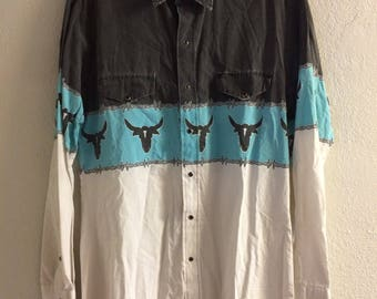 Vintage 90s Western Snap Button Shirt
