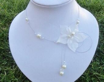 Crystal bridal bridal necklace ivory white ivory satin flower