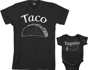 Taco & Taquito Men's T-shirt and Infant Bodysuit Dad and Baby Matching Set