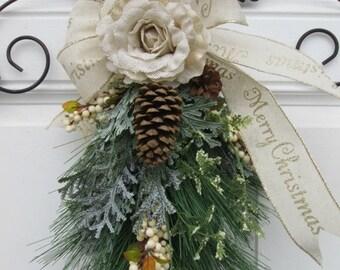 CHRISTMAS SWAG~ Christmas Swag~ Christmas Door Swag , Wreath Alternative Decor , Christmas Wreath ,Christmas Swag ,Holiday Wreath , Holiday
