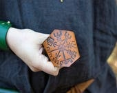 Viking Leather Wrist Cuff - Norse Vegvisir Compass Design - Larp Cosplay