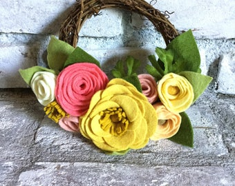 6 inch Coral and Mustard Felt Flower Grapevine Wreath