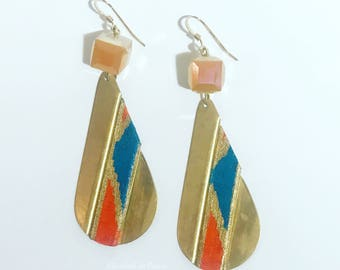 Ready: African Fabric On Raw Brass Earrings With Painted, Gold Detail