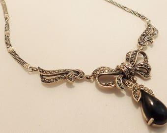 Sterling Sterling Marcasite & Onyx Pendant Necklace