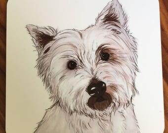 Westie coaster. Digital art. Dog coasters. Westie owner gift. Dog gift. Dog lover. West Highland Terrier