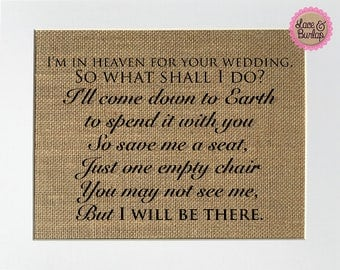 UNFRAMED I'm In Heaven For Your Wedding So What Shall I Do? / Burlap Print Sign 5x7 8x10 / Rustic Vintage Wedding Decor Love House Sign
