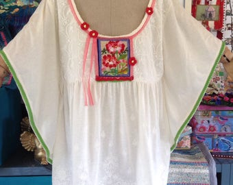 Bohemian Folk Summer Top Blouse tunic // Reworked Refashioned art to wear // Unique one only // Festival Boho // cream embroidered
