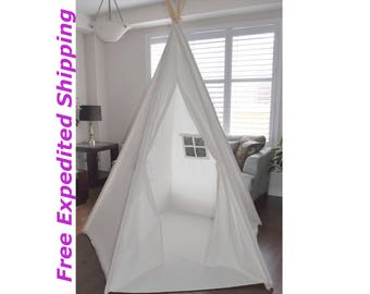 Enjoy with your kids reading together and playing inside! Giant teepee, 7 feet 2 inches tall,  Play Tent, 100% Cotton Canvas, with Floor