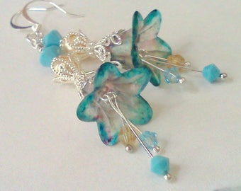 Turquoise Blue Earrings, Hand Painted Flowers, Lucite Flower Dangles, Swarovski Pearl Earrings, Golden Pearls and Turquoise, Vintage Style