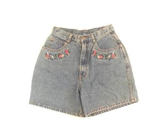 Vintage Floral Embroidered Denim Shorts