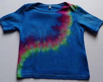 24 months (18m-3 yrs) organic shirt, hand dyed, rainbow shirt, hippy toddler, organic toddler, tie dye toddler, organic kinder, rainbow baby