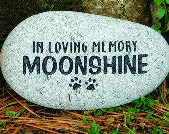 Pet memorial personalized dog or cat sandcarved river stone