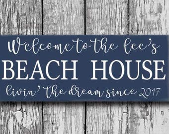 Personalized Beach House Sign, Beach House Decor, Last Name Sign, Beach Home Wood Plaque, Beach Sign, Shore House Decor, Housewarming Gift