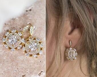 Bridal Earrings, Wedding Earrings, Gold Earrings, Crystal Bridal Earring, 14k gold Crystal Earrings, Dangle Earrings, Earrings E142G-N521G