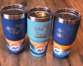Hooked on Being Dad Insulated Tumbler - FREE PERSONALIZATION - Great Gift for Pop, Grandpa, Granddad Cup, Opa, Gramps, PopPop, Daddy, Pa