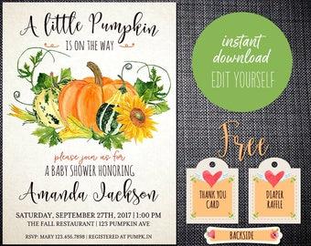 Pumpkin Baby Shower Invitations Digital, Baby Shower Invitation Pumpkin Printable, Baby Shower Invitation Template, Baby Shower Invitation