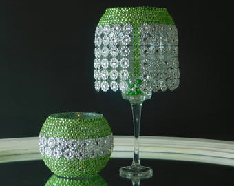 Set Of 2 Long Stem Glass Center Piece Or Candle Holder A Great Valentine's Day Gift Or Wedding Gift Or Room Decor