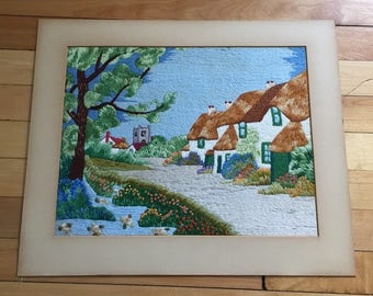 Vintage 1940s Landscape Houses Embroidery Stitched Art Picture!