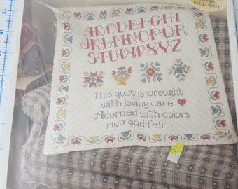 Bucilla stamped cross stitch Traditional Sampler quilt