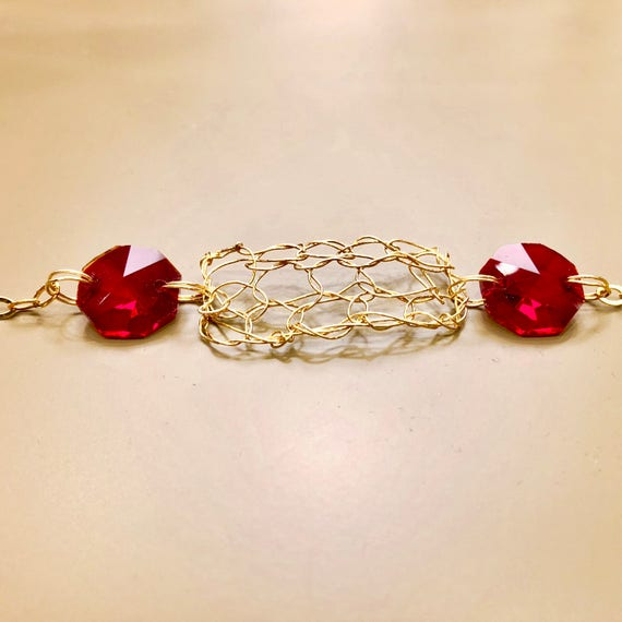 Handmade 14K gold filled wire crochet and chain bracelet with red crystal prisms from a chandelier