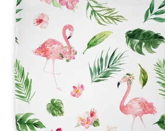 Tropical Floral Flamingo's Changing Pad Cover | Floral, Watercolor, Pink, Flamingo, Baby Girl Changing Pad Cover | Flamingo Baby Nursery